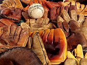 Glove Ball Photos - Baseball of Old by Art Block Collections