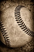 Homerun Metal Prints - Baseball old and worn Metal Print by Paul Ward
