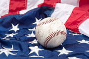 Baseball Seams Photo Metal Prints - Baseball on American flag Metal Print by Joe Belanger