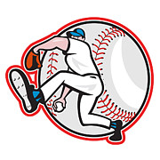 Throw Posters - Baseball Pitcher Throw Ball Cartoon Poster by Aloysius Patrimonio