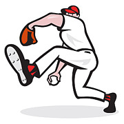 Isolated Digital Art Prints - Baseball Pitcher Throwing Ball Cartoon Print by Aloysius Patrimonio