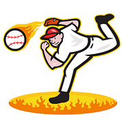 Outfielder Posters - Baseball Pitcher Throwing Ball On Fire Poster by Aloysius Patrimonio