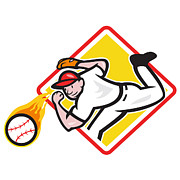 Outfielder Posters - Baseball Pitcher Throwing Fire Ball Diamond Poster by Aloysius Patrimonio