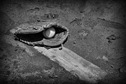 Baseball Art - Baseball Pitchers Mound in black and white by Paul Ward
