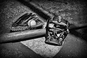 Worn Leather Metal Prints - Baseball Play Ball in black and white Metal Print by Paul Ward