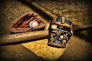 Worn Leather Metal Prints - Baseball Play Ball Metal Print by Paul Ward