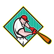 Player Prints - Baseball Player Batting Diamond Cartoon Print by Aloysius Patrimonio
