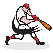 Hitter Posters - Baseball Player Batting Isolated Cartoon Poster by Aloysius Patrimonio
