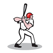 Player Digital Art Posters - Baseball Player Batting Side Cartoon Poster by Aloysius Patrimonio