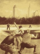Ny Yankees Drawings Acrylic Prints - Baseball Players - New York Sepia Acrylic Print by Peter Art Prints Posters Gallery