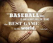Baseball Art Posters - Baseball Print with Babe Ruth Quotation Poster by Lisa Russo