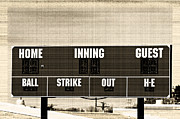 Home Football Game Prints - Baseball scoreboard vintage Print by Tammy Abrego