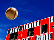 Football Game Mixed Media Prints - Baseball Scoreboard with Homerun Print by Lane Erickson
