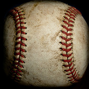 Baseball Macros Photo Metal Prints - Baseball Seams Metal Print by David Patterson