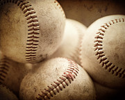 Kids Room Art Photo Metal Prints - Baseball Sports Art Pile of Well Worn Baseballs  Metal Print by Lisa Russo