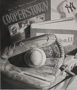 Baseball Glove Drawings - Baseball Still Life by Melissa Baccus