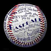 First Baseman Framed Prints - Baseball Terms Typography 1 Framed Print by Andee Photography