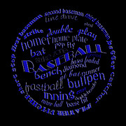 Baseball Bat Digital Art Posters - Baseball Terms Typography Blue On Black Poster by Andee Photography