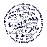 Baseball Digital Art Posters - Baseball Terms Typography Blue On White Poster by Andee Photography