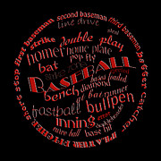 Baseballs Digital Art Framed Prints - Baseball Terms Typography Red On Black Framed Print by Andee Photography
