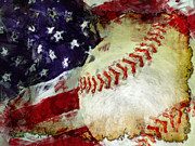 Baseballs Digital Art Posters - Baseball USA Poster by David G Paul
