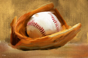 Mlb Digital Art Prints - Baseball V Print by Lourry Legarde