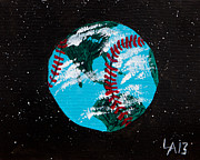Baseball Paint Posters - Baseball World Poster by Lloyd Alexander