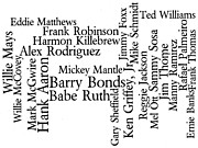 Word Cloud Prints - Baseballs 500-Career Home Run Hitters Print by David Bearden