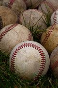 Baseball Seam Photo Metal Prints - Baseballs Metal Print by David Patterson
