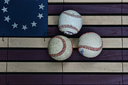 Homerun Posters - Baseballs on American Flag Folkart Poster by Paul Ward