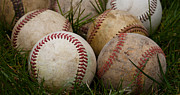 Baseball Seam Photo Metal Prints - Baseballs on the Grass Metal Print by David Patterson