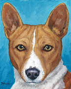 Dog Art Paintings - Basenji Portrait on Blue by Dottie Dracos