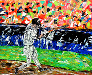Abstract Baseball Painting Framed Prints - Bases Loaded  Framed Print by Mark Moore