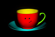 Coy Art Prints - Bashful Colorful Cup and Saucer Print by Natalie Kinnear
