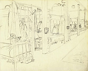 Marines Drawings Framed Prints - Basic Training Barracks Interior I Fort Jackson 1976 Framed Print by Jim Vansant