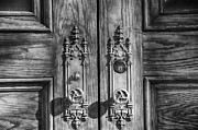 Doorknobs Prints - Basilica Door Knobs BW Print by Angelina Vick