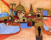 Italian Landscape Mixed Media Prints - Basilica Print by Joan Gillman Smith