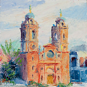 Asheville Painting Posters - Basilica of St. Lawrence Asheville Poster by Lisa Blackshear