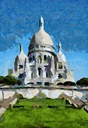 Cities Painting Posters - Basilica Sacred Heart- Paris Poster by Dragica  Micki Fortuna