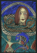 Salmon Painting Posters - Basket Case Poster by  Elizabeth Beattie