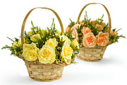Basket Pyrography Prints - Basket flowers colorful Print by Boon Mee