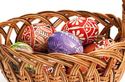 Wicker Basket Prints - basket fulL of Ester Eggs Print by Michal Boubin