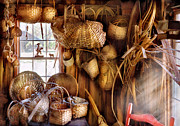 Baskets Photo Framed Prints - Basket Maker - I like weaving Framed Print by Mike Savad