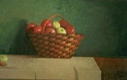 Green Painting Prints - Basket of Apples Print by Eric Scott Hayes
