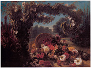 Delacroix Framed Prints - Basket of Flowers in a Park Framed Print by Eugene Delacroix
