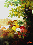 Zelma Hensel Posters - Basket of flowers under the tree Poster by Zelma Hensel