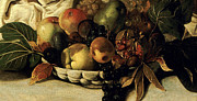 Caravaggio Posters - Basket of Fruit Detail Bacchus Poster by Caravaggio