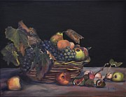 White Grape Paintings - Basket of Fruit by Donna Tuten
