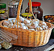 Farmstand Metal Prints - Basket of Garlic Metal Print by Linda Brown