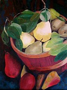 Still Life With Pears Posters - Basket of Pears Poster by Rachel Raburn